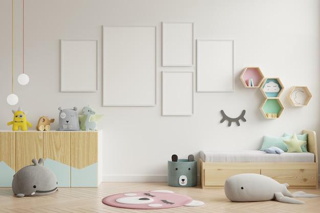 Mock-se quadro de cartaz no quarto de crianças, quarto de crianças, maquete de berçário, parede branca. Foto Premium