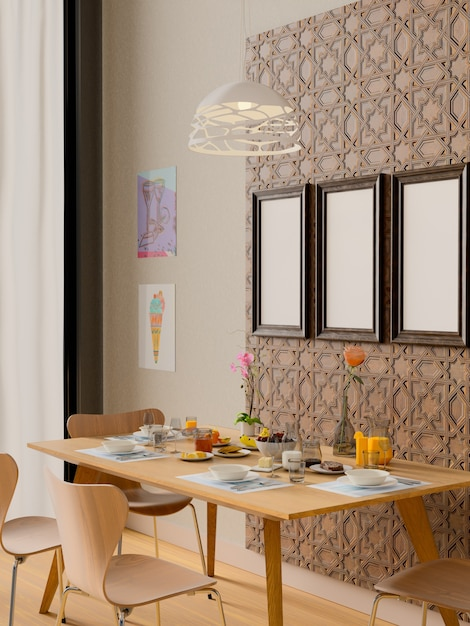 Mock-se quadro no interior da sala de jantar. Foto Premium