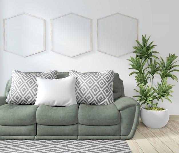 Mock-se sala de moldura de cartaz com sofá verde e plantas de decoração Foto Premium