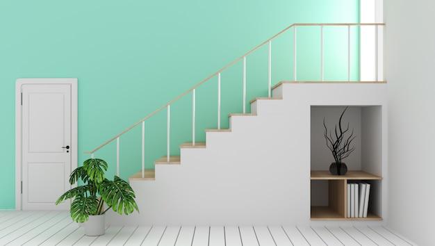 Mock-se sala vazia de hortelã com escada e decoração, estilo zen moderno Foto Premium