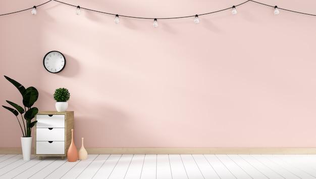Mock up poster cabinet moderno na sala-de-rosa com piso de madeira branca. renderização em 3d Foto Premium