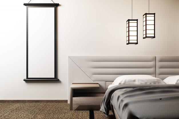 Mock up quarto de estilo zen de luxo. renderização 3d Foto Premium
