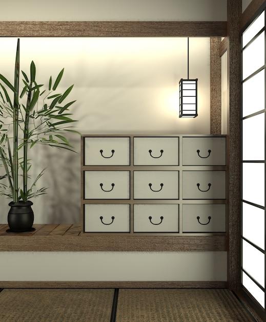 Mock up quarto japão com piso tatami e decoração estilo japão foi projetado em estilo japonês. Foto Premium