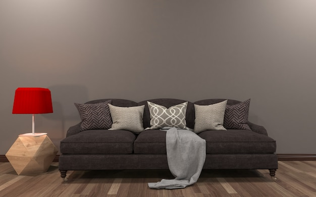 Mockup realista da sala de estar inerior Foto Premium