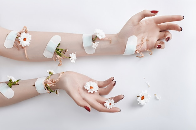 Moda arte mão cuidados e flores de camomila Foto Premium