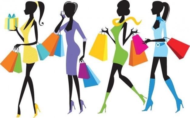 moda compras ilustração meninas
