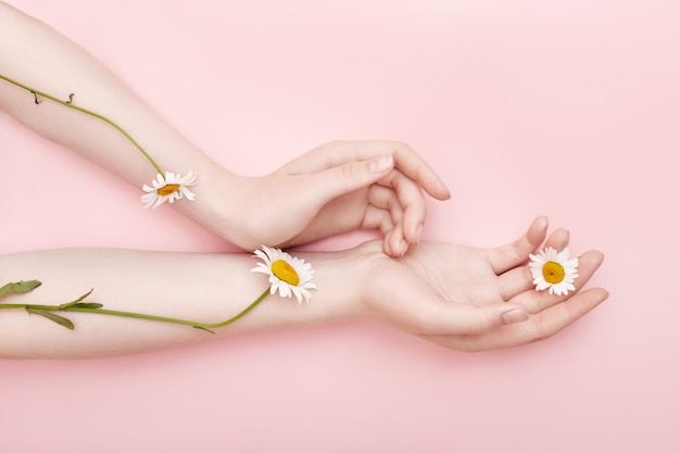Moda mão arte camomila cosméticos naturais mulheres Foto Premium