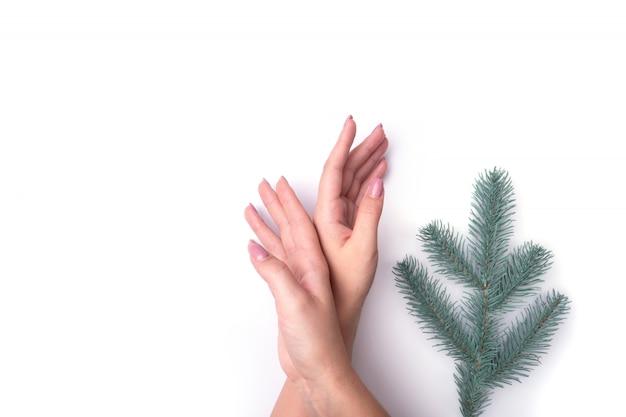 Moda, mãos femininas com manicure, unhas, galhos de árvores de natal Foto Premium