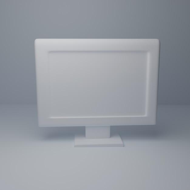 Modelo branco do desktop do computador 3d no fundo branco. copie o espaço renderização em 3d Foto Premium