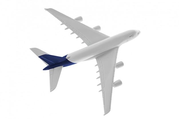 Modelo de avião com cor azul na cauda isolado no fundo branco Foto Premium