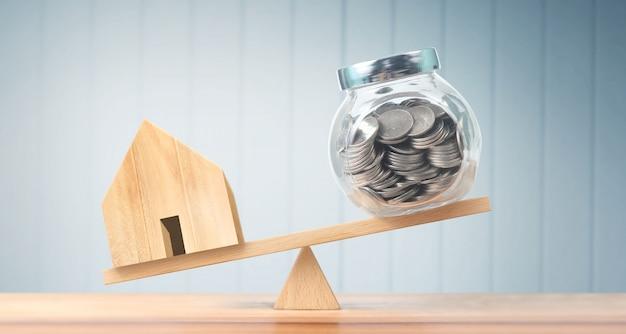 Modelo de casa de madeira. habitação e conceito imobiliário Foto Premium