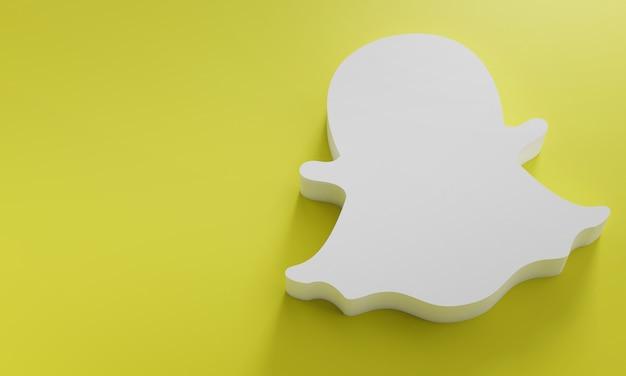 Modelo de design simples mínimo do snapchat logo. copie o espaço 3d Foto Premium