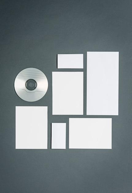 Modelo de negócios com cartões, papéis, disco Foto gratuita