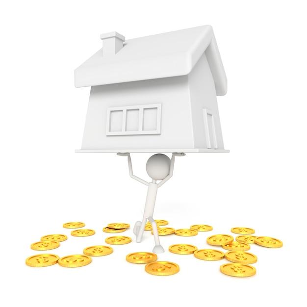 Modelo de pessoas elevar a casa com o conceito de devedor. renderização em 3d. Foto Premium