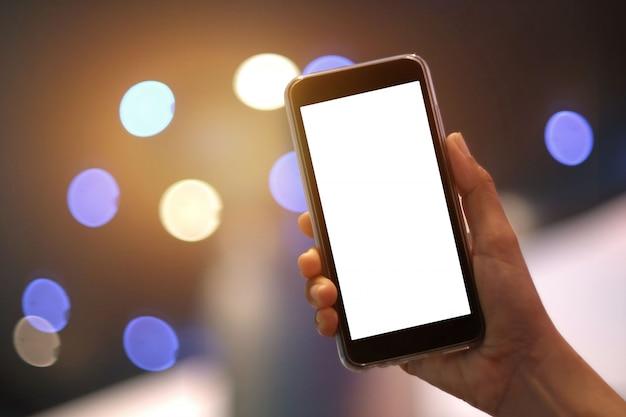 Modelo de tela em branco do smartphone com espaço de cópia Foto Premium