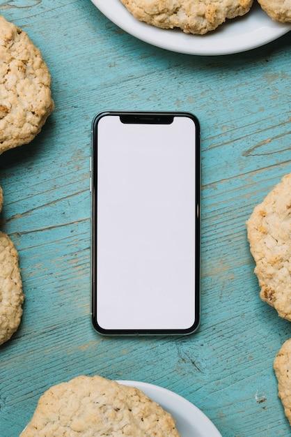 Modelo de telefone móvel de vista superior Foto gratuita