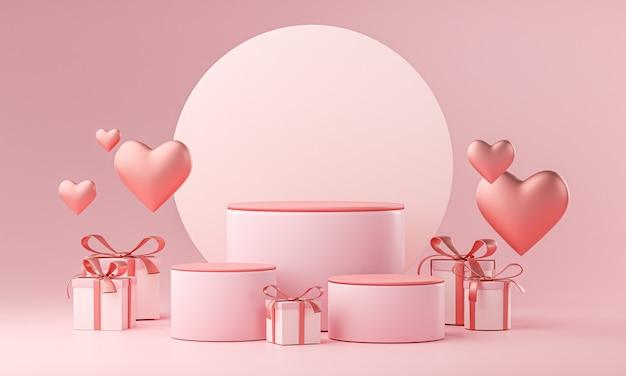 Modelo de três estágios, formato de coração de amor de casamento de namorados e caixa de presente renderização 3d Foto Premium