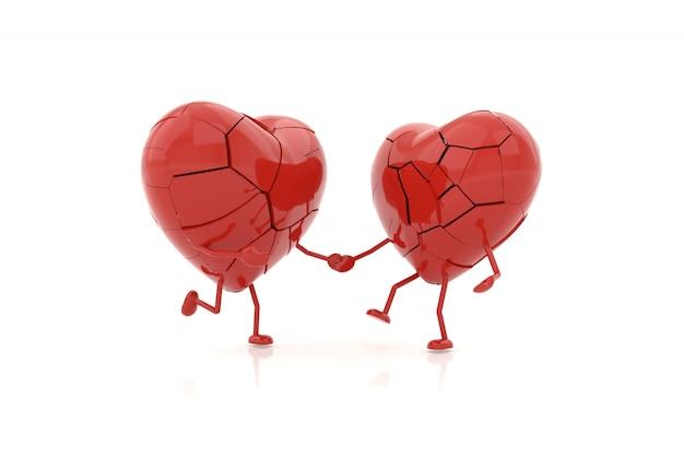 Modelo do coração com conceitos desolados. renderização em 3d. Foto Premium