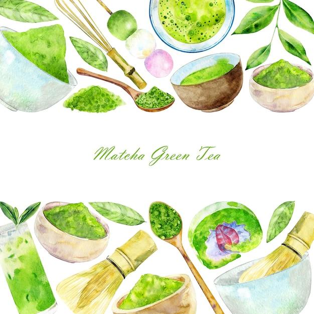 Modelo para chá verde matcha Foto Premium