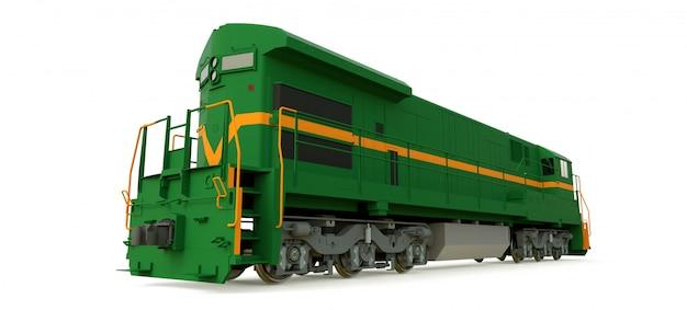 Moderna locomotiva a diesel verde com grande potência e força para mover trens longos e pesados Foto Premium