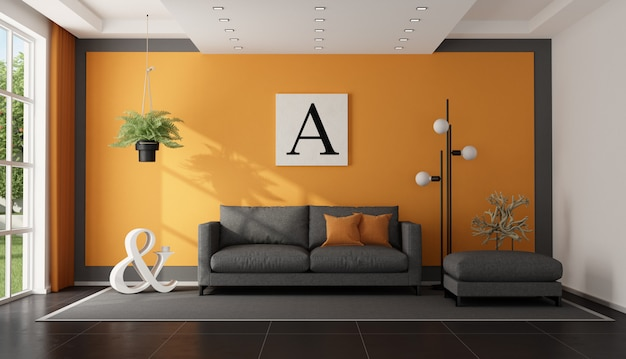 Moderna sala de estar cinza e laranja Foto Premium