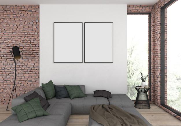 Moderna sala de estar com molduras duplas vazias para foto ou obra de arte Foto Premium