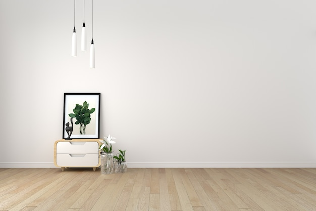 Moderna sala de estar com piso de madeira e parede branca Foto Premium