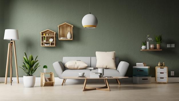 Moderna sala de estar com sofá branco tem armário e prateleiras de madeira no piso de madeira e parede branca Foto Premium