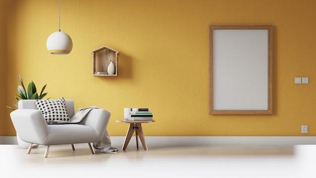 Moderna sala de estar com um pôster vazio na parede Foto Premium