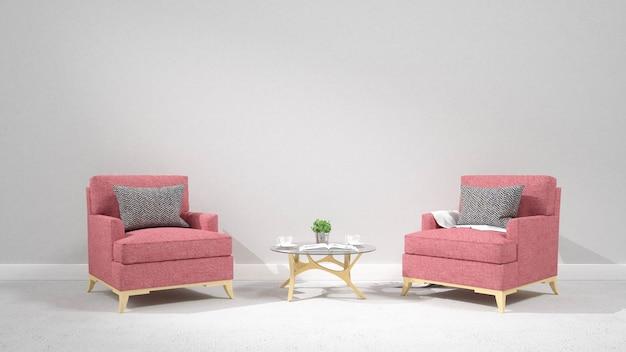 Moderna sala interior com renderização de armchair.3d Foto Premium