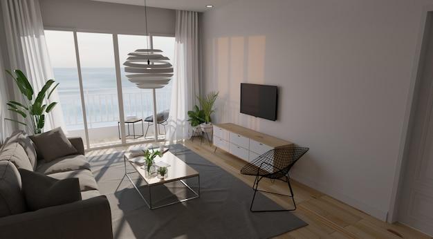 Moderna sala interior com sofá e plantas verdes Foto Premium