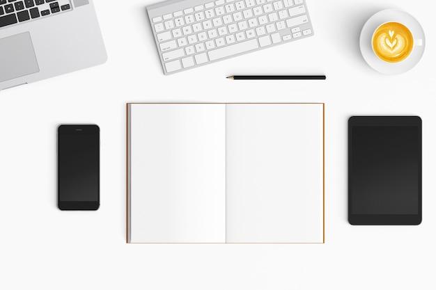 Moderno espaço de trabalho em fundo branco. vista do topo. estilo leigo plano. Foto Premium