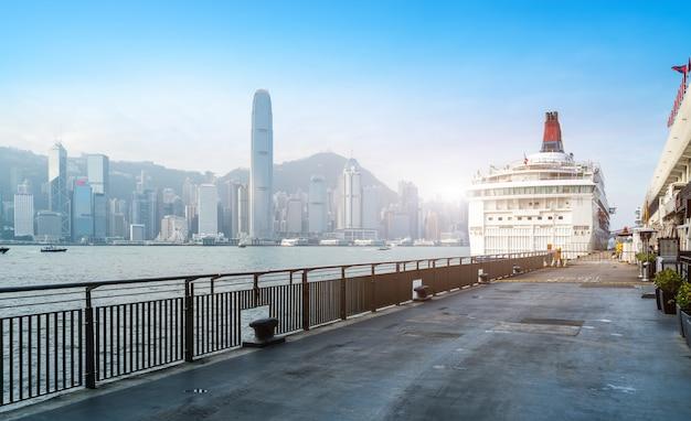 Modernos, escritório, edifícios, em, central, hong kong Foto Premium