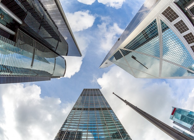 Modernos, escritório, edifícios, hong kong Foto Premium