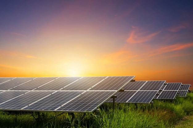 Módulos fotovoltaicos usina de energia solar Foto Premium