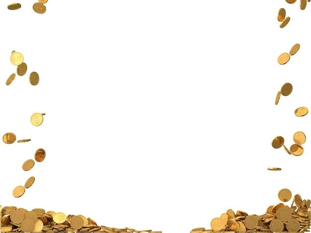 Moedas de ouro arredondadas com símbolo de dólar. Foto Premium