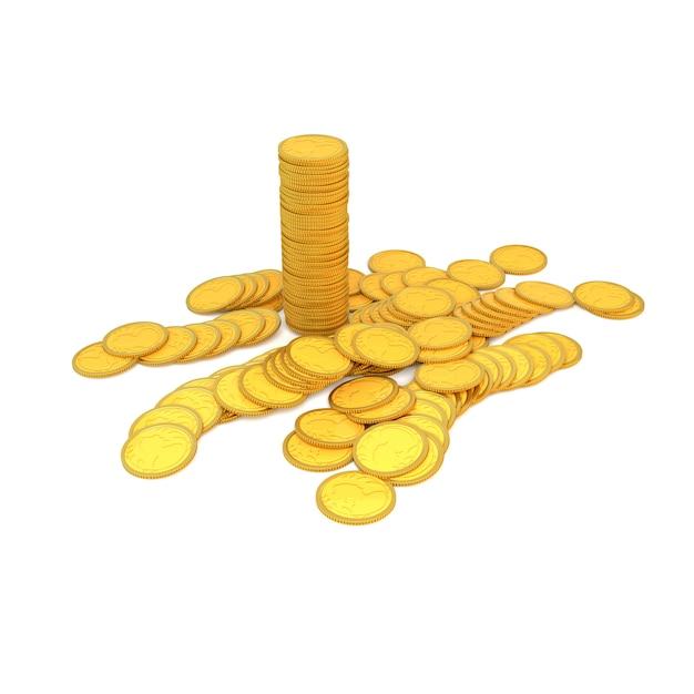 Moedas de ouro em um fundo branco. ilustração 3d, render. Foto Premium