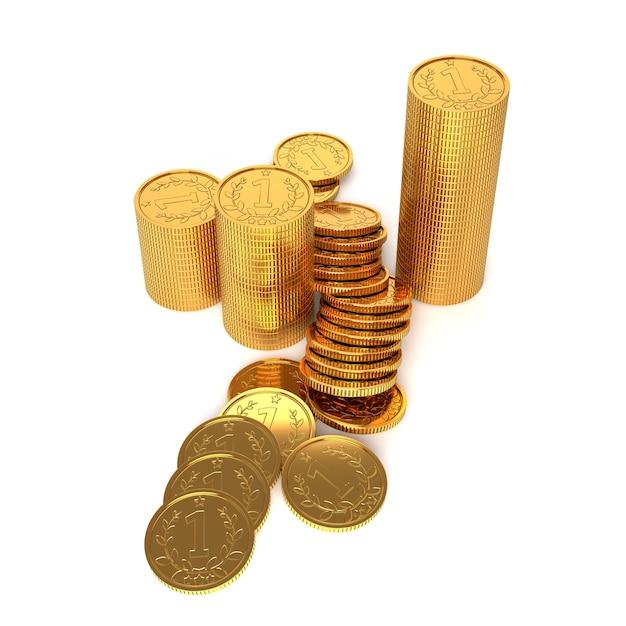 Moedas de ouro em um fundo branco. ilustração 3d. Foto Premium