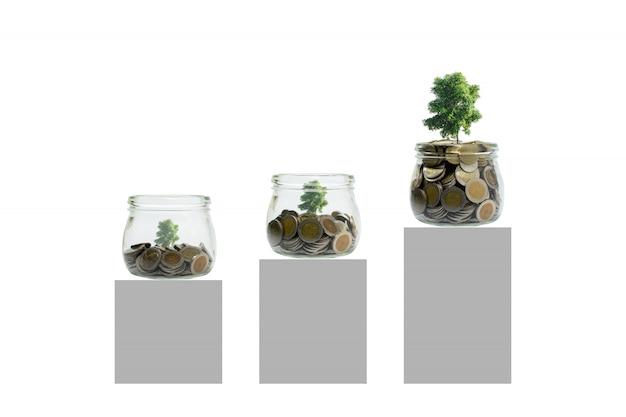 Moedas e planta na garrafa, no crescimento do investimento empresarial e no conceito da economia. Foto Premium