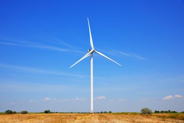 Moinho de vento em um campo contra um céu azul Foto Premium