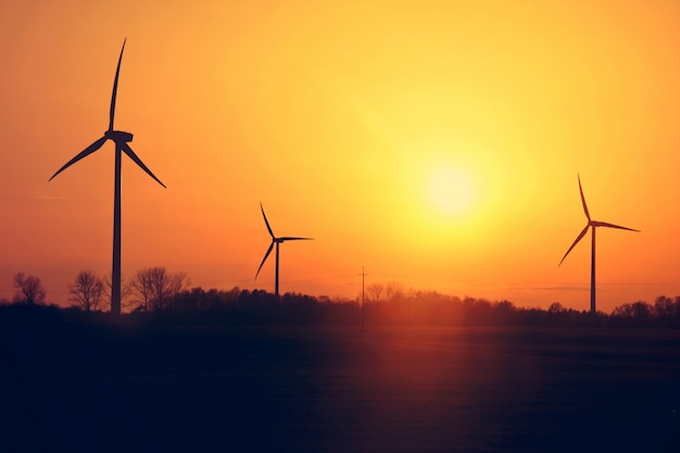 Moinhos de vento e pôr do sol. Foto gratuita