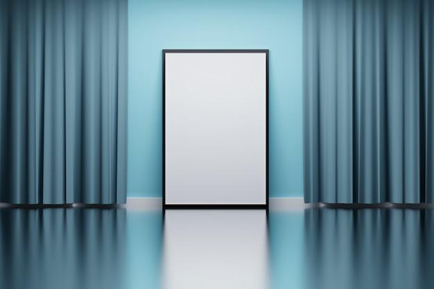 Moldura com cortinas azuis Foto Premium