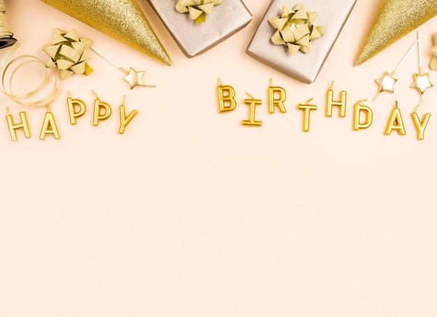 Moldura de decoração de aniversário dourada plana Foto Premium