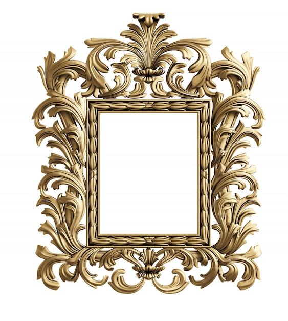 Moldura de espelho clássico. renderização em 3d Foto Premium