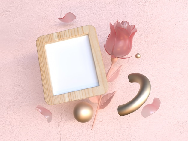 Moldura de madeira 3d rendering rosa cena rose valentine conceito Foto Premium