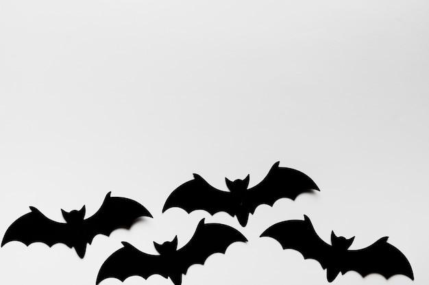Moldura de vista superior com morcegos e cópia-espaço Foto gratuita