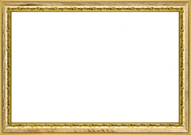Moldura dourada vintage clássica isolada no branco Foto Premium