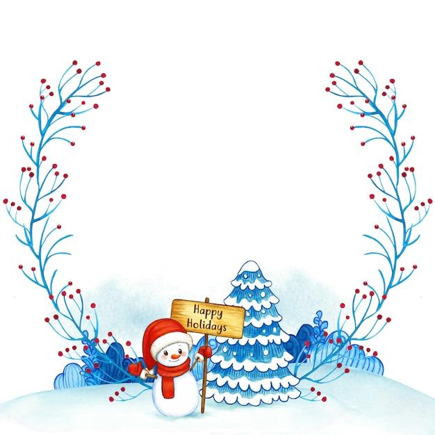 Moldura em aquarela de natal com boneco de neve e árvore Foto Premium