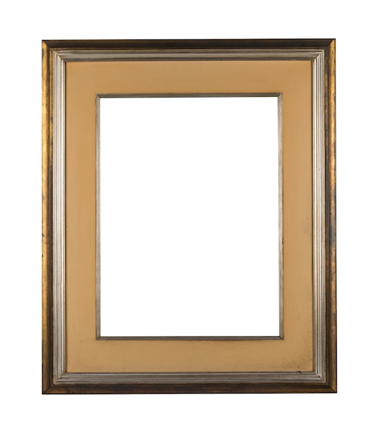 Moldura em branco vintage com bordas de madeira marrons em um fundo branco Foto gratuita