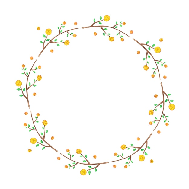 Moldura floral com flores amarelas Foto Premium